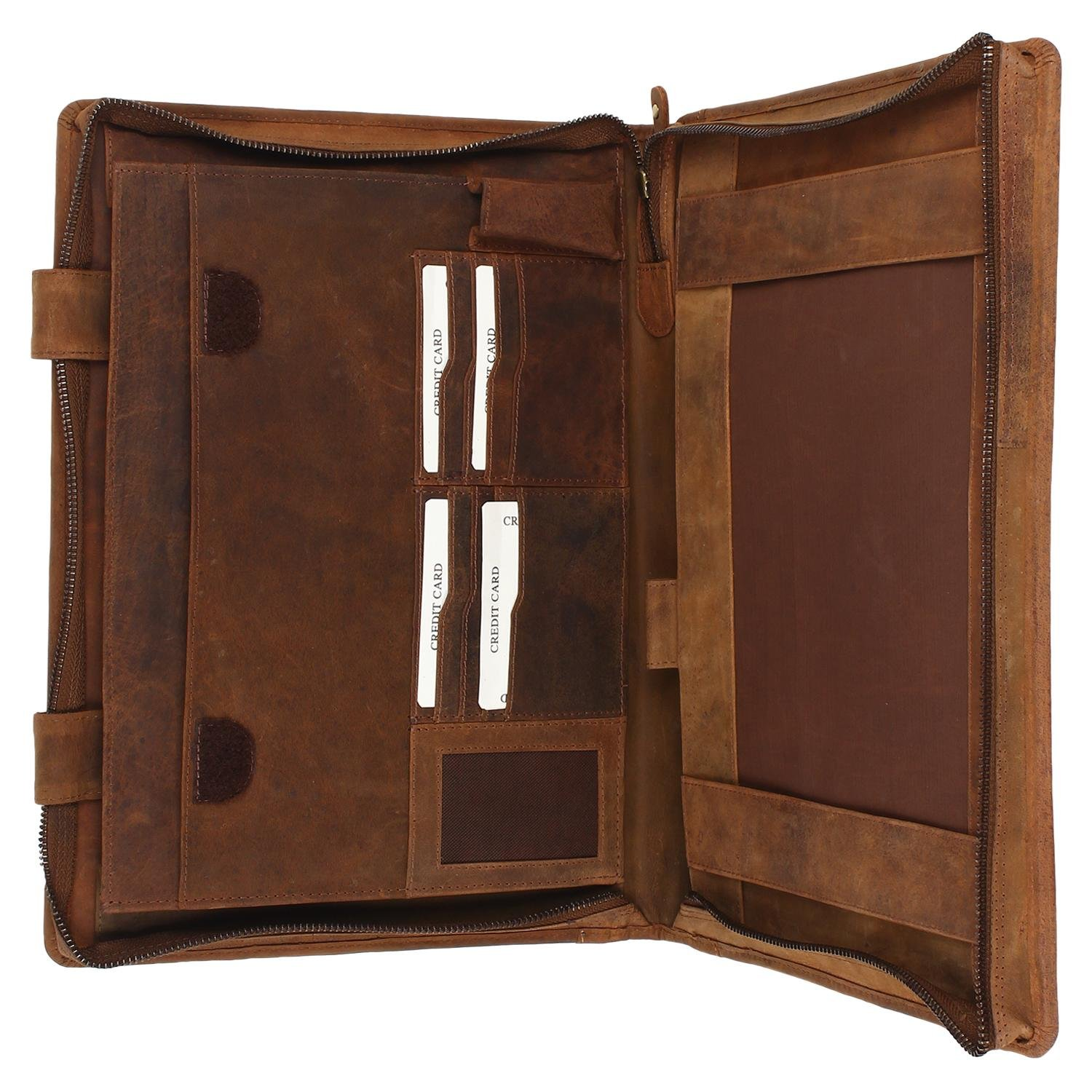 Supreme Business Portfolio By Rustic Town   Professional Organizer For Men & Women   Durable Leather Padfolio   Easy To Carry With A Zippered Closure   Many Slots, Compartments & Holders