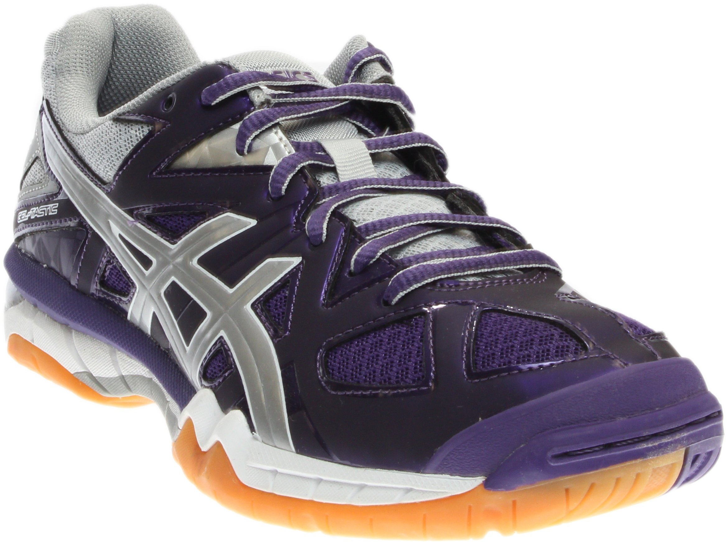ASICS Women's Gel Tactic Volleyball Shoe, Purple/Silver/White, 9.5 M US