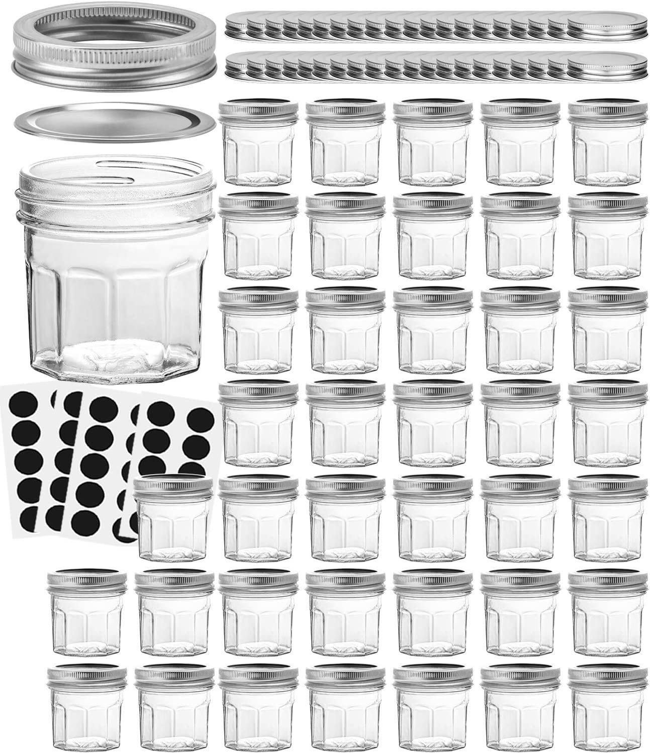 VERONES Mason Jars Canning Jars, 4 OZ Jelly Jars With Regular Lids and Bands, Ideal for Jam, Honey, Shower Favors, Baby Foods, DIY Magnetic Spice Jars, 40 PACK,Extra 40 Lids