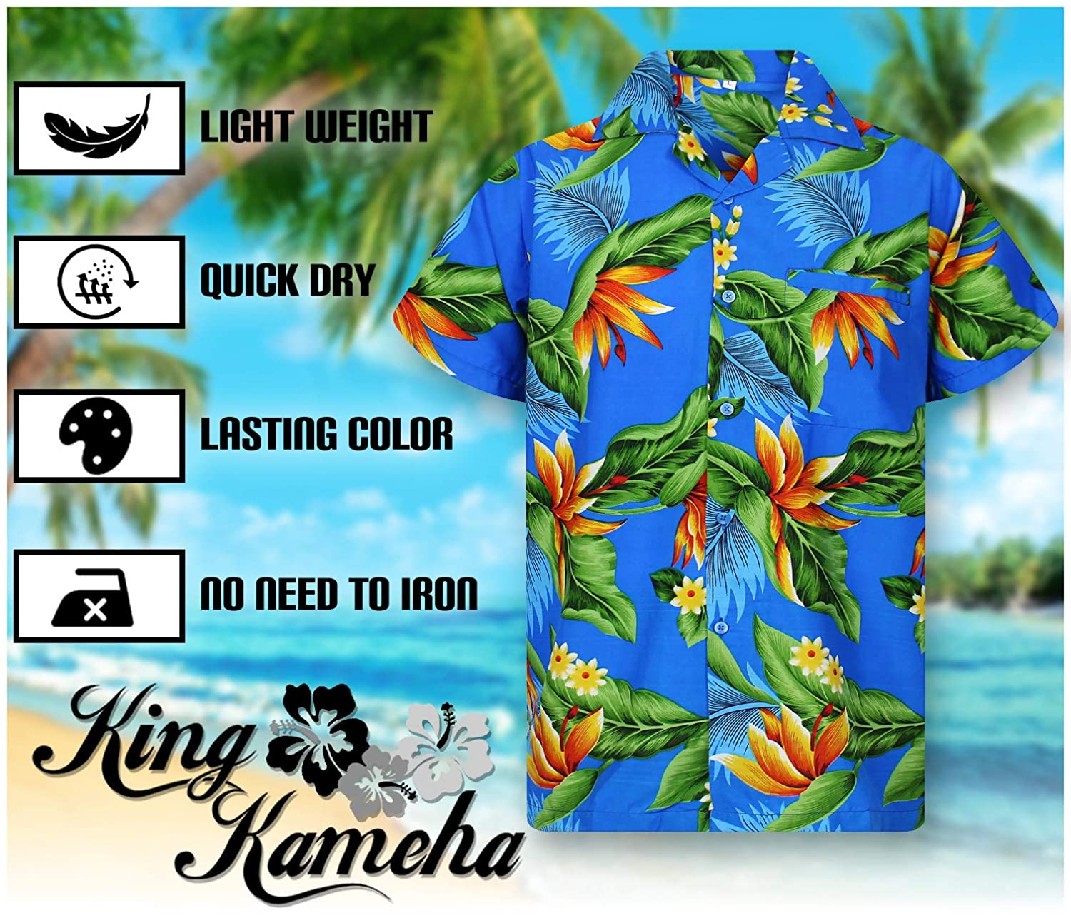 Hawaiian Shirt for Men Funky Casual Button Down Very Loud Shortsleeve Unisex Bird of Paradise Flower
