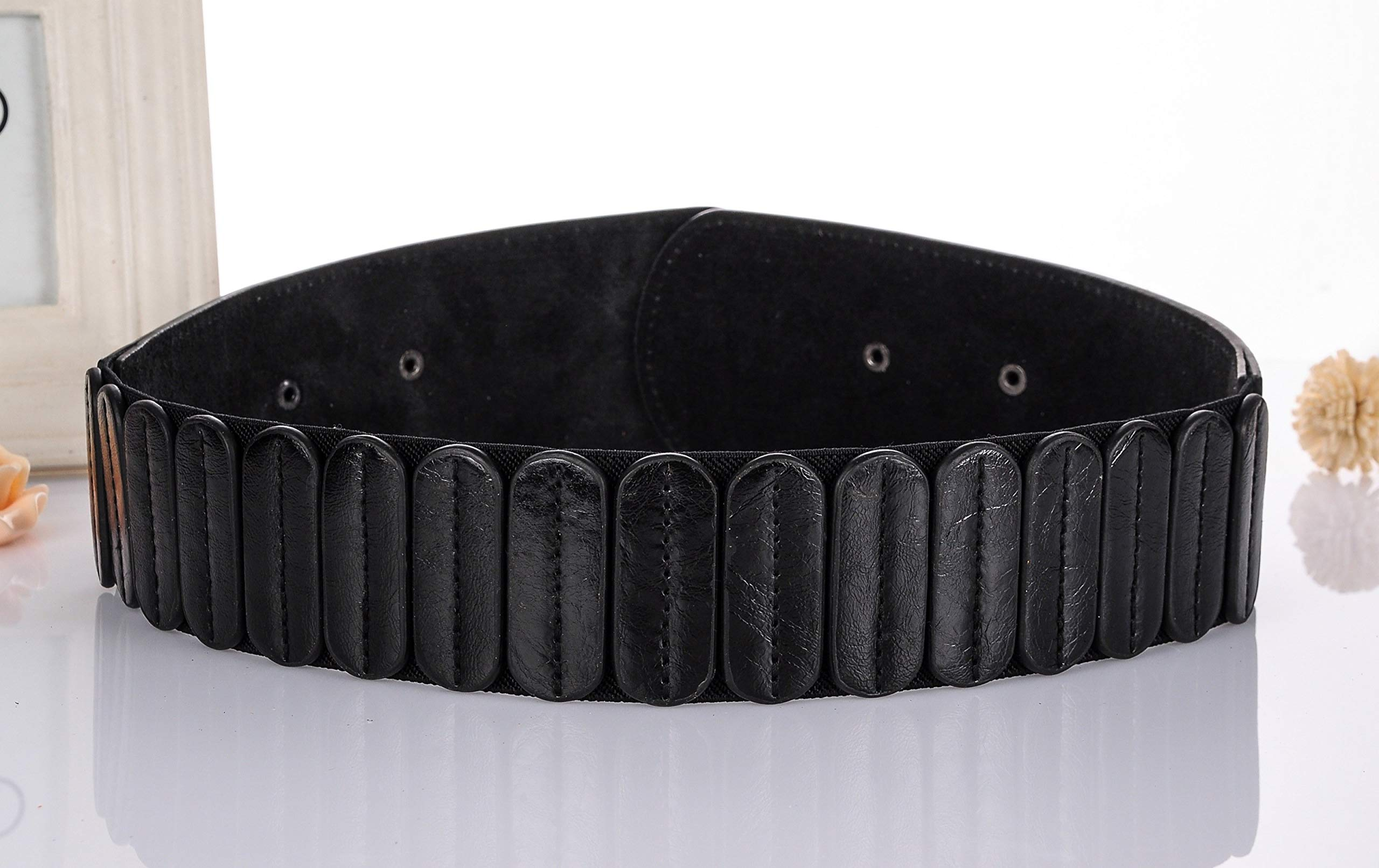 Ayli Womens Waist Belt, Metal Horseshoe Hook Leather Wide Elastic Stretch Cinch Belt, Black, Fits Waist 29'' to 35'' (US Pant/Dress Size 6-14), bt6b510bk by As You Like It (Image #2)
