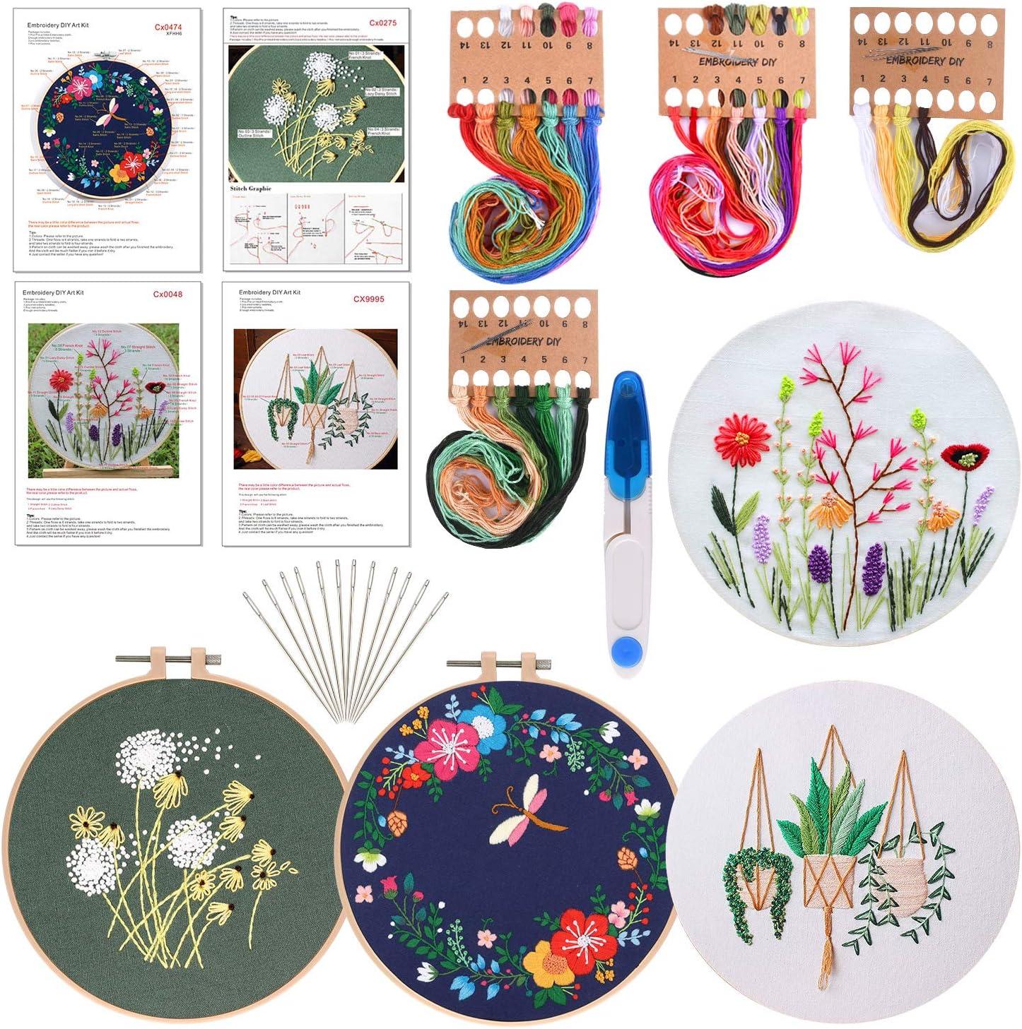 FEPITO 4 juegos con patrón e instrucciones El kit de punto de cruz incluye 4 piezas de ropa de bordado con patrón floral, 2 aros de bordado, tijera, kit de agujas de hilos de colores