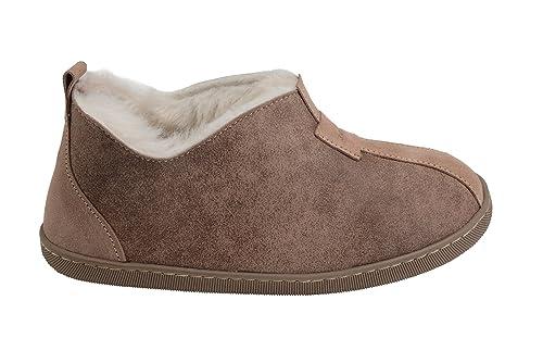 Mujer piel de carnero cuero blanda forro de lana caliente zapatillas de estar por casa zapatos Dl0azfZ