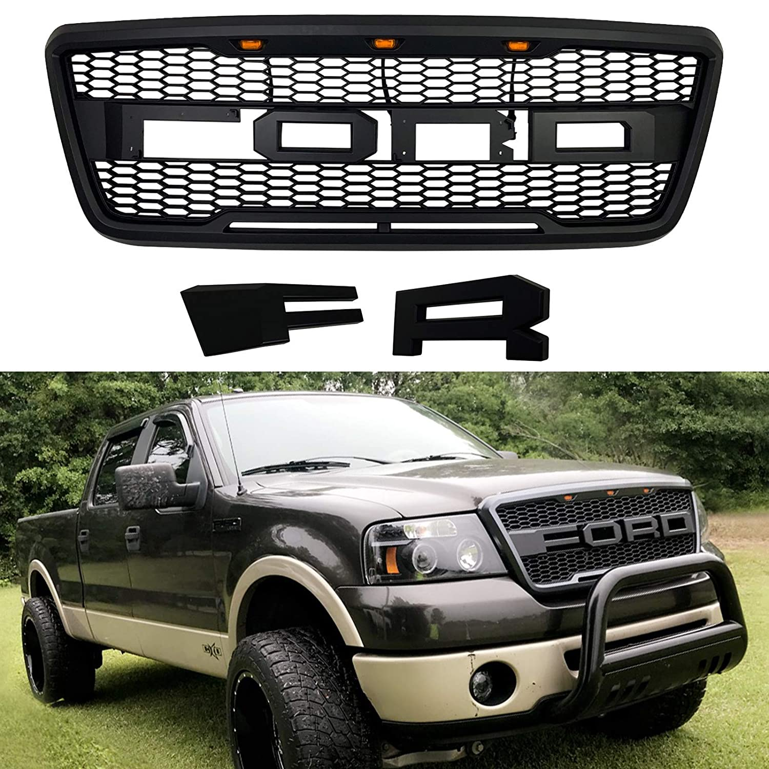 Front Grille Fits 2004 2008 Ford F150 Raptor Style Grill Kits With Amber Led Light And F R Letter Black
