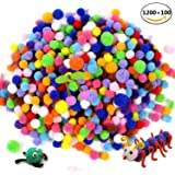 JUSLIN 1200 Pcs 1cm 100 Pcs 1.5cm Assorted Pom Poms for DIY Creative Decorations,Craft Pompoms