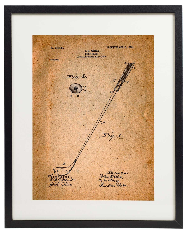 Amazon.com: IDIOPIX Golf Patent Wall Decor Art Print Set of 6 Prints ...