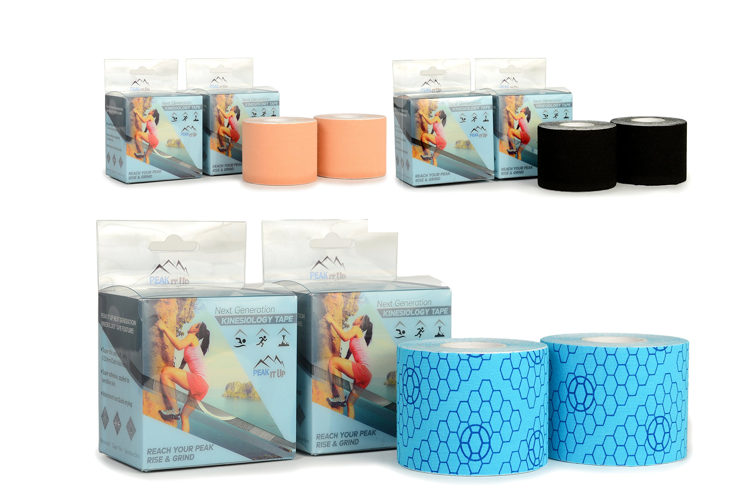 Next Generation Kinesiology Tape, 2' x 16.4', 2 Pack- Perfect Support to Reduce Pain & Improve Recovery - Super Adhesive & Elastic Stretch