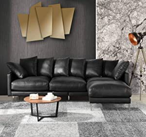 Black Leather Sectional Sofa Couch w/Reversible Chaise Ottoman, Modern L Shape Top Grain Leather Sectional Couch Sofa,Lounger Home Furniture Sectionals, Sofas & Couches Living/Theater Room Sofa, Black