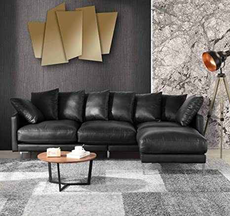 Pleasing Amazon Com Black Leather Sectional Sofa Couch W Reversible Inzonedesignstudio Interior Chair Design Inzonedesignstudiocom