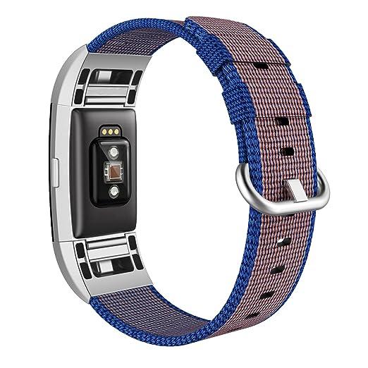 3 opinioni per Fitbit Charge 2 Band Nylon, Swees Woven Nylon Braccialetto Regolabile Grande