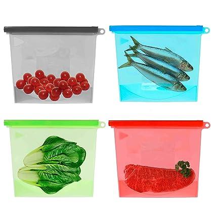 QH-Shop Bolsa de Silicona Reutilizable Food Fresh-keeping Bags Versátil alimentos preservación bolsa para congelar vapor Calor microondas frutas ...