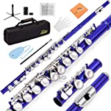 Eastar EFL-1B 16 Keys C Flute Close Hole Nickel Plated Blue Beginner Flute Set With Fingering Chart, Hard Case, Cleaning…