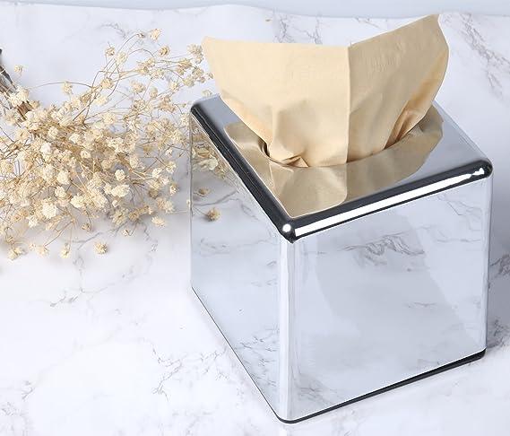Amazon.com: CROWNSTARQI Square Acrylic Mirror Tissue Box Cover Holder Kleenex Holder- Chrome: Home & Kitchen