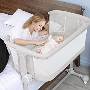 Baby Bassinet Bedside Sleeper, BABLE Baby Bedside Sleeper for Baby Newborn, Cosleeper Bassinet Portable Crib Baby Bed with Wheels, 6 Height Adjustable Co Sleeper Bassinet for Baby Boy Girl