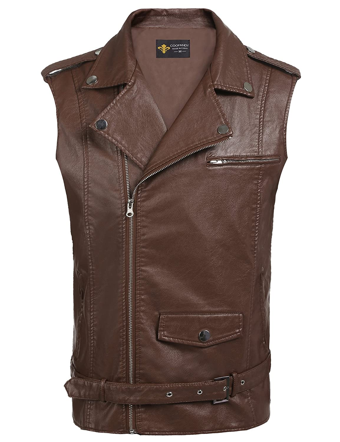 COOFANDY Men's Leather Vest Motorcycle Zipper Biker Racing Waistcoat