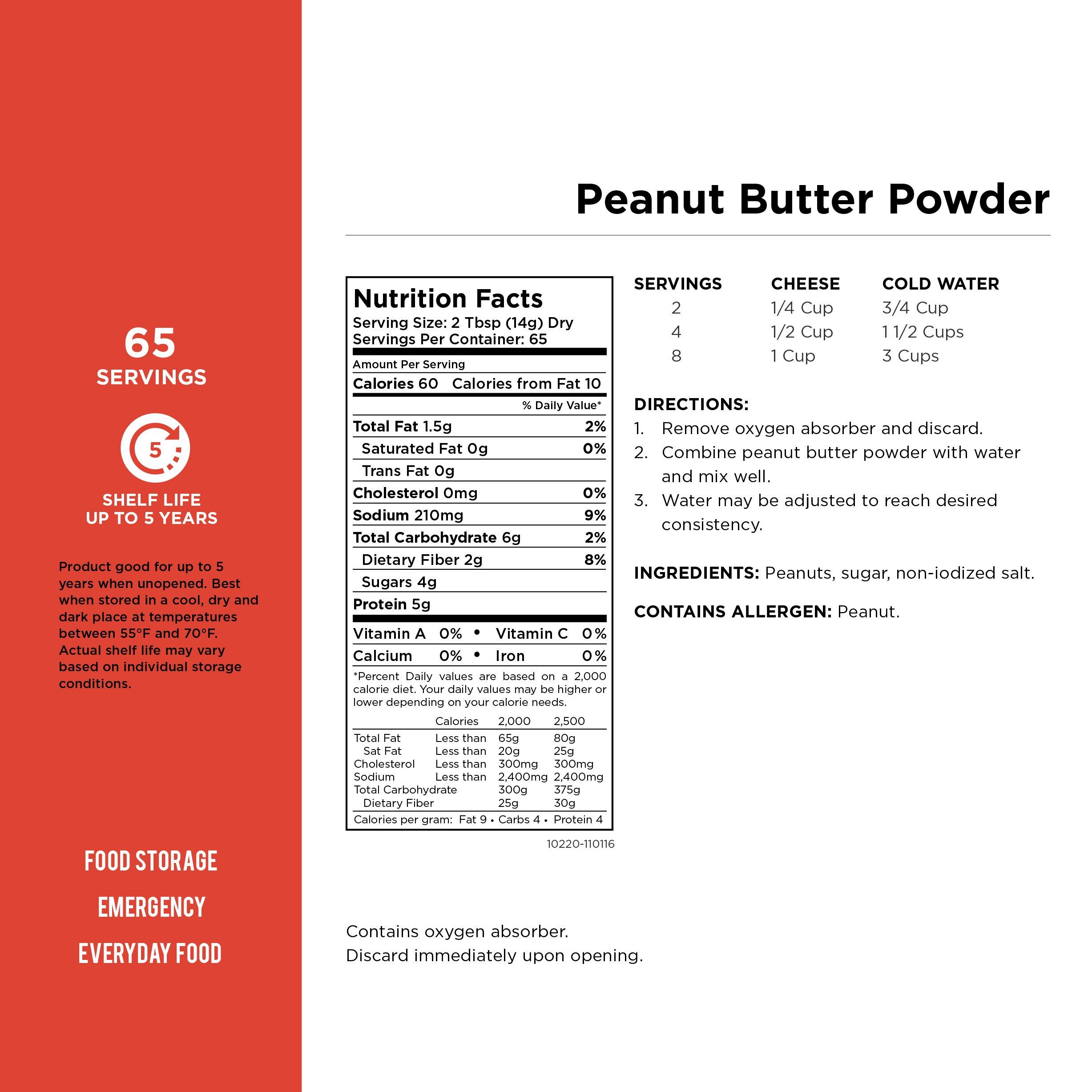 Augason Farms Peanut Butter Powder 2 lbs No. 10 Can by Augason Farms (Image #8)