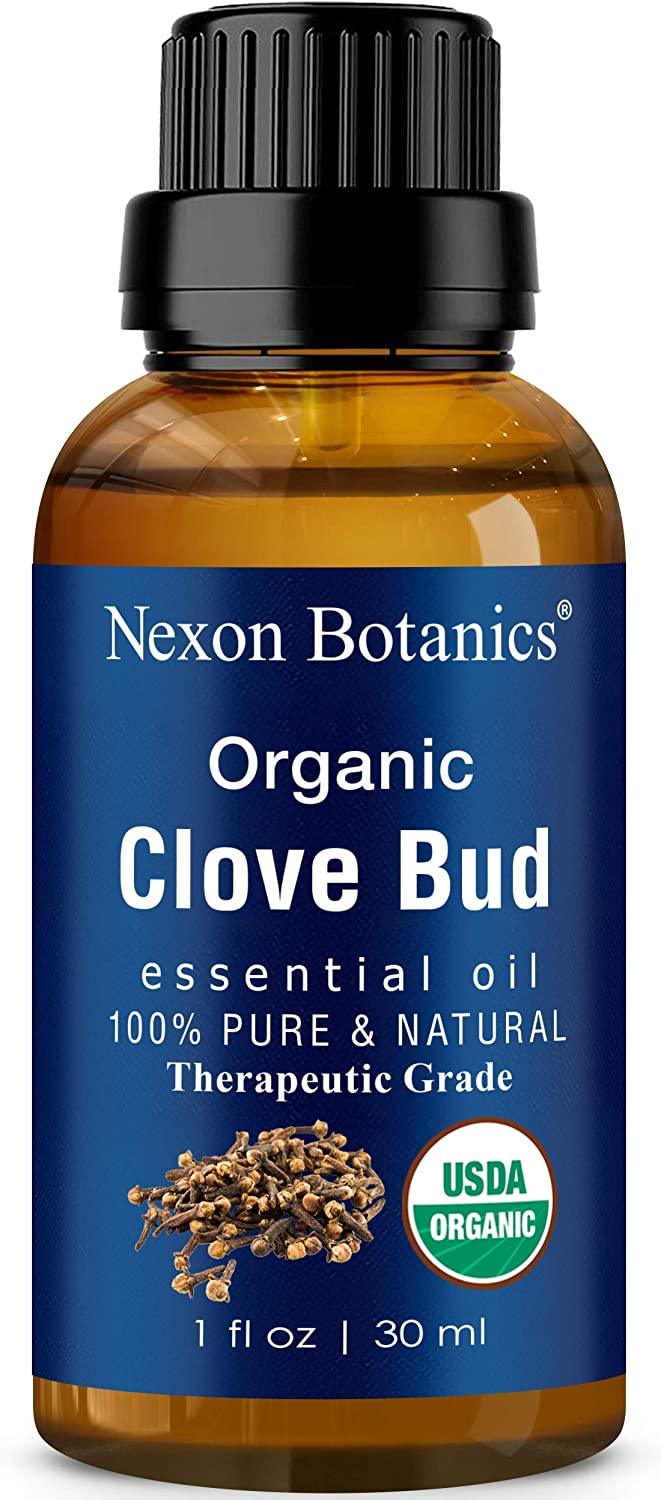 Organic Clove Bud Essential Oil 30 ml - Therapeutic Grade - Perfect for Aromatherapy - Soothes Sore Muscles, Toothaches - Excellent for Skin and Hair Care from Nexon Botanics