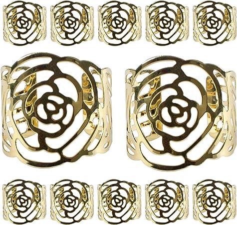 12 Pcs Rond de Serviette Anneaux de Serviettes de table Porte-serviettes en M/étal Ajour/é Motif Fleur Bague D/éco Pour Mariage Banquet De Mariage D/écoration De D/îner De No/ël