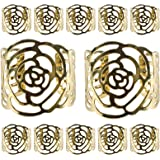 Napkin Rings,KAKOO 12 Pcs Hollow Out Rose Design Metal Napkin Holder for Wedding Party Dinner Table Decor (Gold)