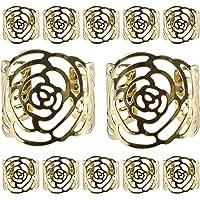 aro de servilleta de 12 servilleteros KAKOO para servilletas de tela y papel y los anillos metálicos de diseÑor hueco…