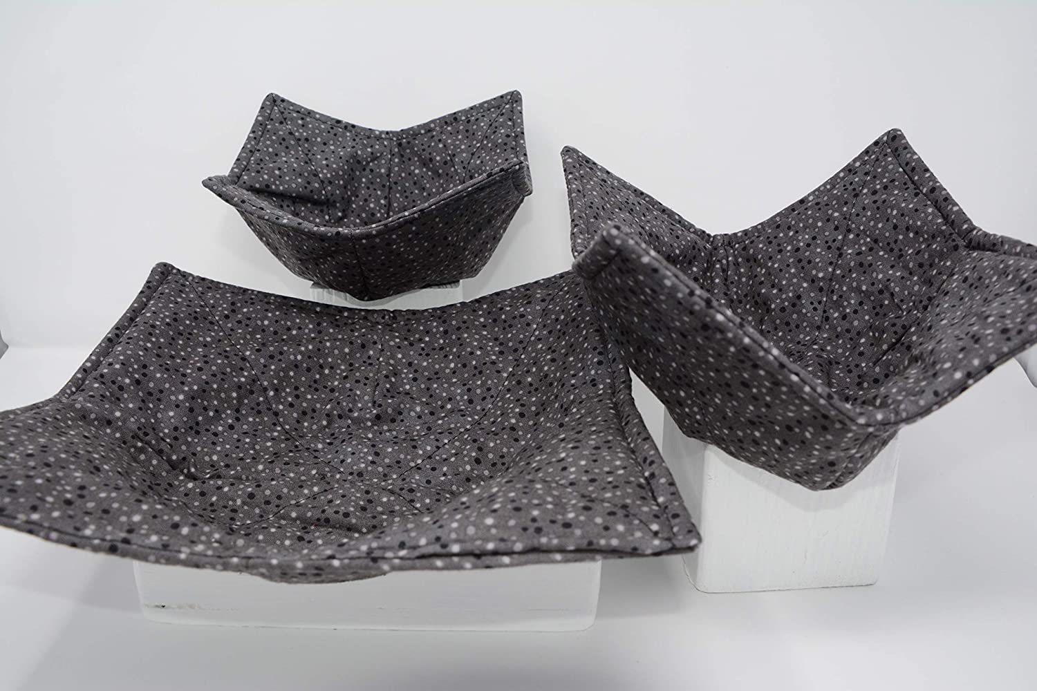 1 Small Bowl Cozy Set of 3 1 Medium Bowl Cozy and 1 Dinner Plate Cozy Gray Dots Microwave Dish Cozies