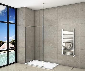 Mampara de ducha de color negro mate, pared italiana, de 8 mm ...