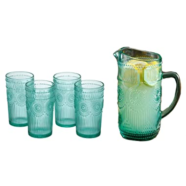 The Pioneer Woman Adeline 16-Ounce Emboss Glass Tumblers, Set of 4 Bundle with The Pioneer Woman Adeline 1.59-Liter Glass Pitcher in Turquoise