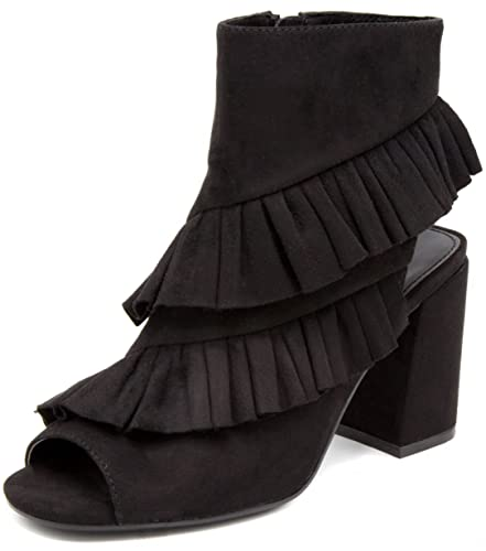 66bf6cd05a0e2 Mari A Women's Intoxicate Ankle Boot Bootie with Slouch Overlays 6 Black  Micro