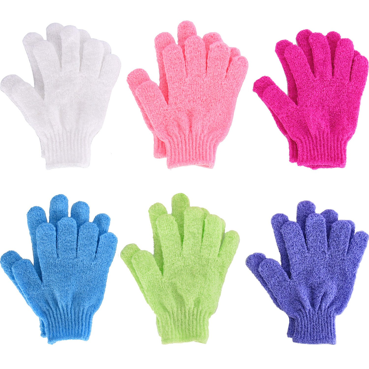 6 Pairs Double Sided Exfoliating Gloves Body Scrubbing Glove Bath Scrubs for Shower, 6 Colors Hotop