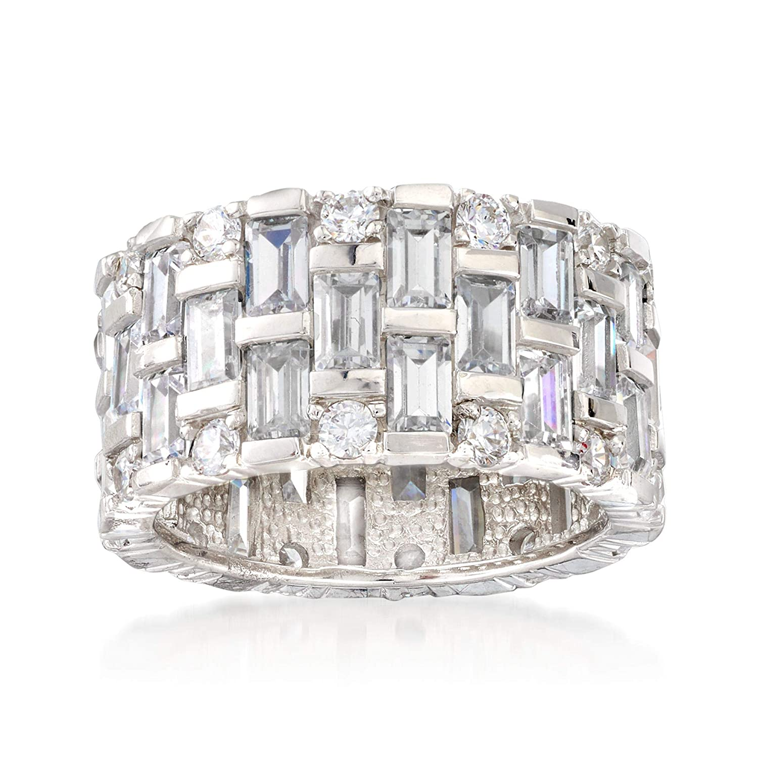 t.w Baguette and Round CZ Eternity Band in Sterling Silver Ross-Simons 5.50-6.50 ct