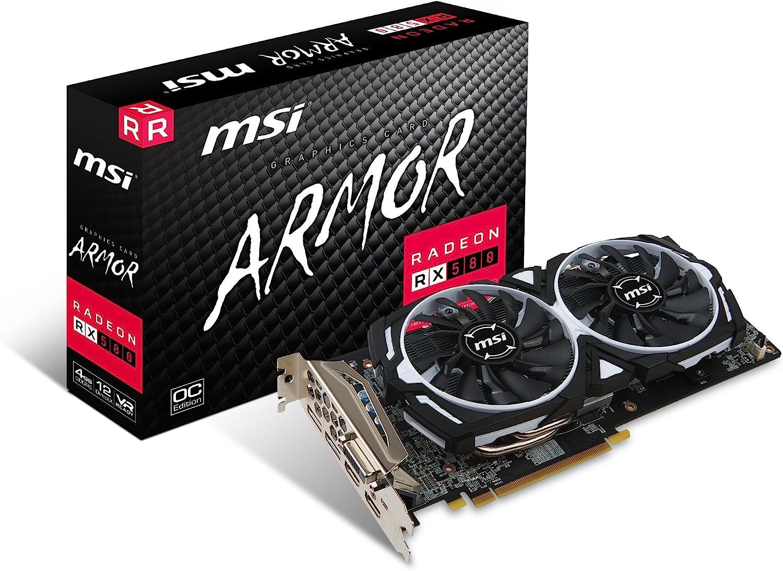 MSI Gaming Radeon RX 580 256-bit 4GB GDRR5 DirectX 12 VR Ready CFX Graphcis Card (RX 580 ARMOR 4G OC)