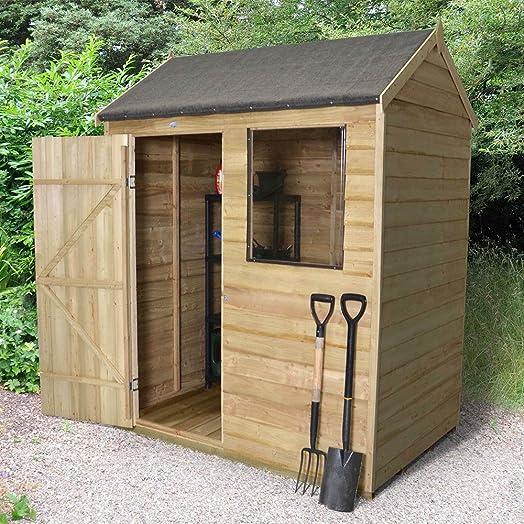 forest garden 6x4 reverse apex overlap garden shed pressure treated - Garden Sheds 6x4