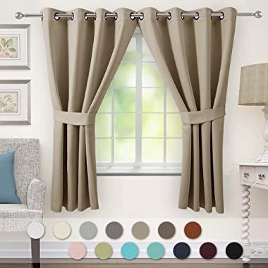 VEEYOO Bedroom Blackout Curtains 2 Panels - Thermal Insulated Grommet Window Curtain with Tiebacks Thick Darkening Drapes for Living Room, 52 x 63 Inches Cappuccino Curtains