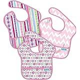 バンキンス 油が落ちるスタイ3点セット【日本正規品】スーパービブ 柔らかくて軽量 洗濯機で洗えてすぐ乾く お食事用防水ビブ 6~24ヶ月 Girl Assorted S3-G8