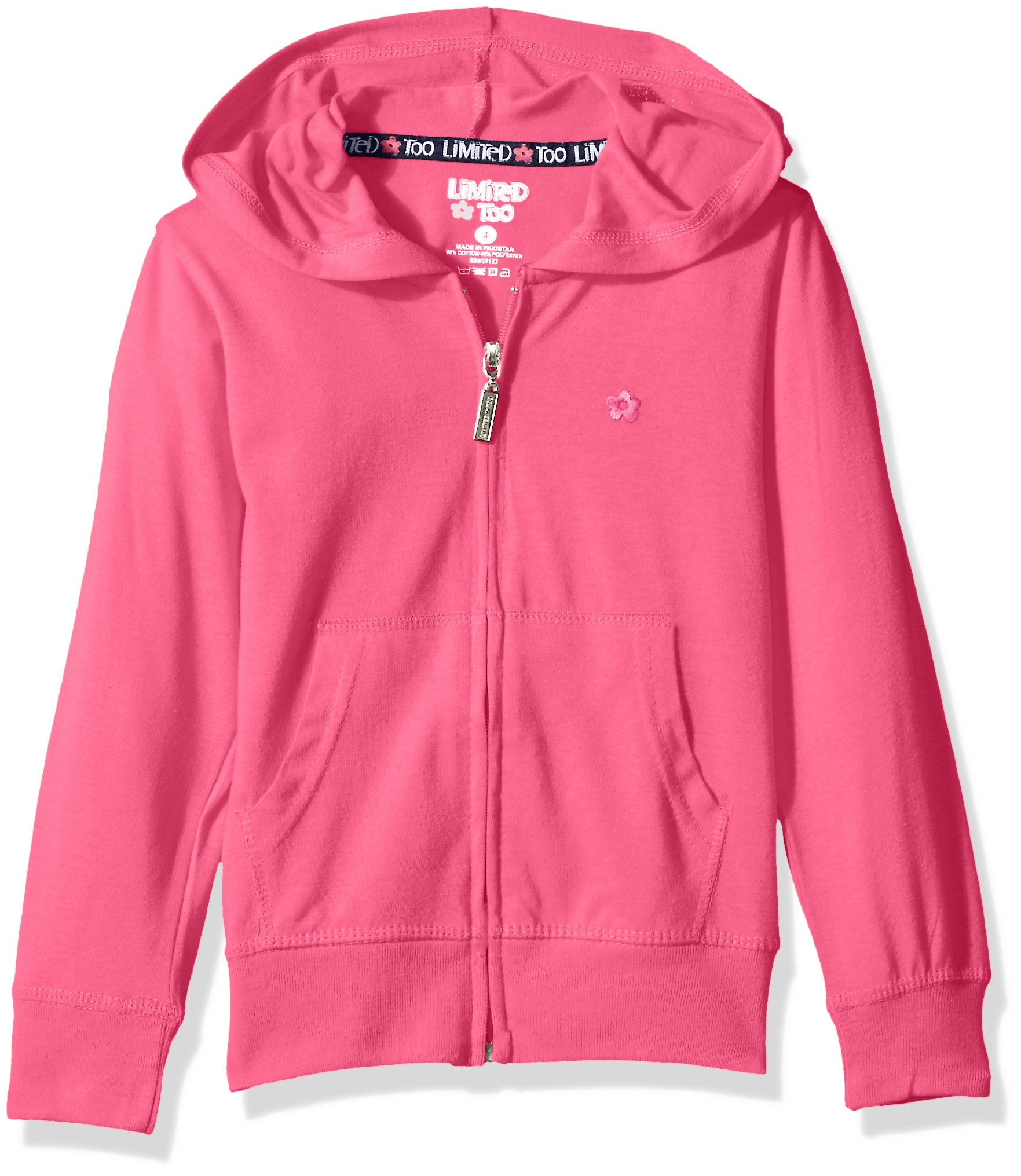 Limited Too Girls' Long Sleeve Zip Front Jersey Hoodie,Fuchsia,14/16