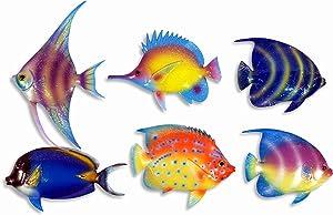 "Handpainted C-A Gliter Cartoon Tropical Fish Wall Mount Decor Plaque 6"" (Set Of 6)"