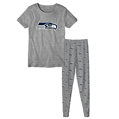 cea7e9b638 Outerstuff Seattle Seahawks NFL Pajama Set Top and Bottom in Gray (Small)