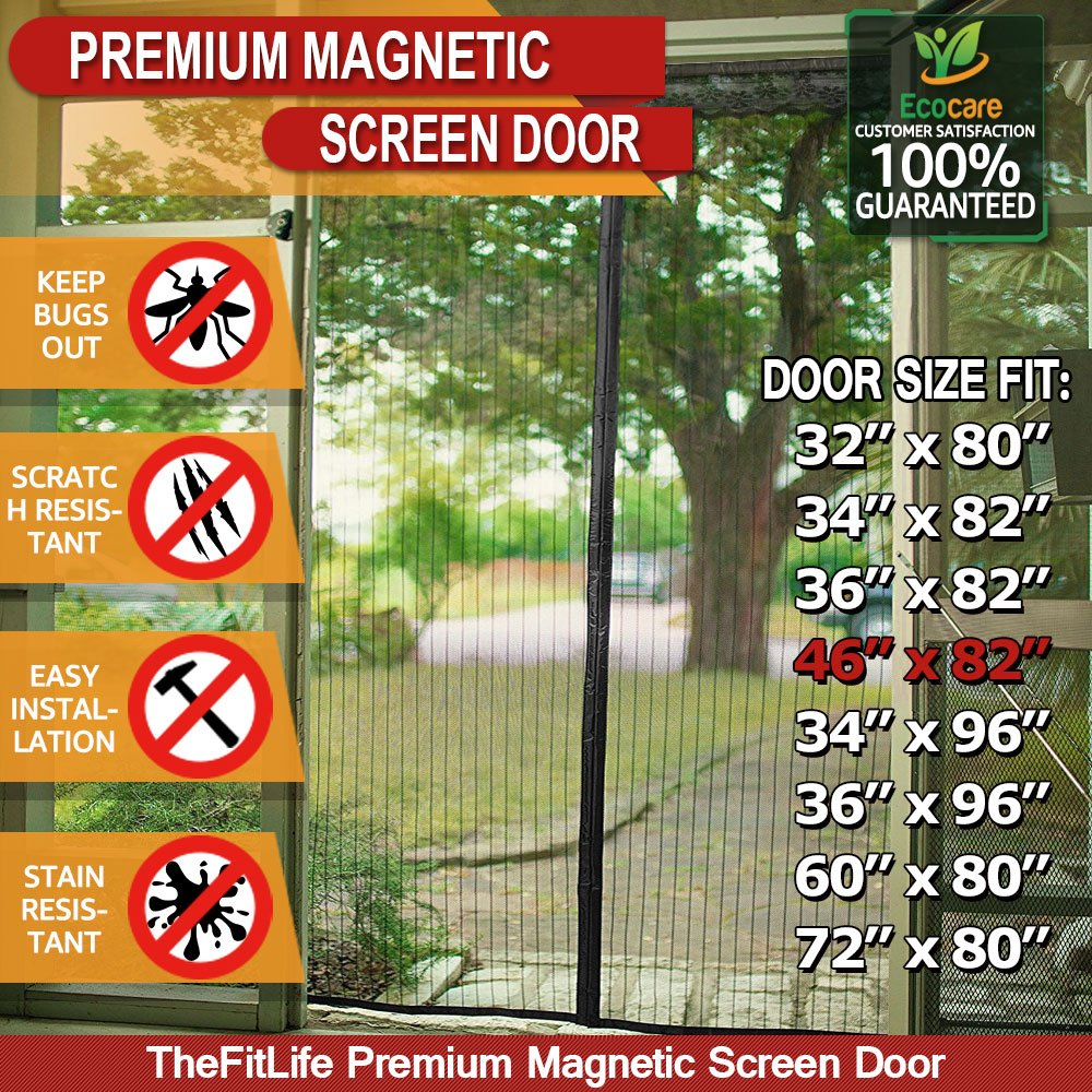 TheFitLife Magnetic Screen Door - Heavy Duty Mesh Curtain with Full Frame Hook and Loop and Powerful Magnets that Snap Shut Automatically (74''x81'' - Fits doors up to 72''x80'' Max) Screen-Black-72x80