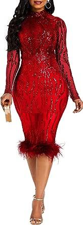 VERWIN Sequins Patchwork Bodycon Dress Women's Long Sleeve Dress Elegant Dress Plume Maxi Dress Party Dress