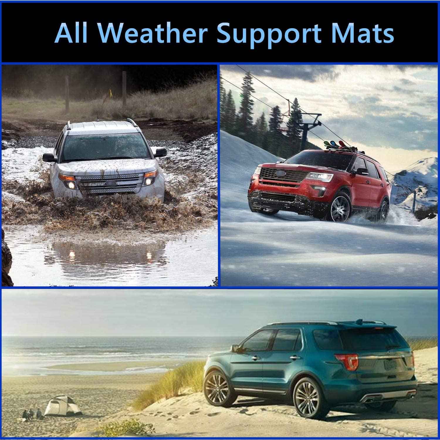 MotorFansClub Customed Floor Mats Fit for Compatible with Ford Explorer 2015 2016 Floor Liners 1st /& 2nd Row Carpet Cargo Liner All Weather Protection