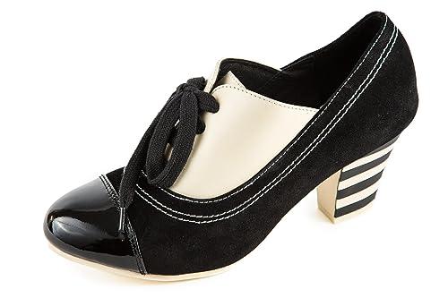 ed6228fe289 Lola Ramona - Zapatos de Vestir de Piel para Mujer Negro Negro  Amazon.es   Zapatos y complementos