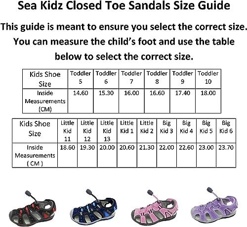 SEA KIDZ Kids Active Sandals Waterproof Hiking Open Toe Toddler-Big Kid Sizes