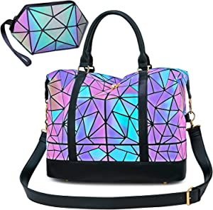 CAMTOP Geometric Luminous Weekender Bag Women Ladies Carry On Tote Overnight Duffel (Luminous Travel Bag and Cosmetic Purse)