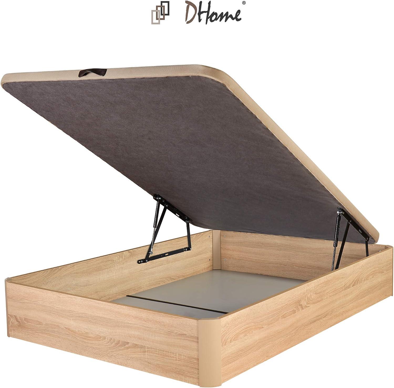 DHOME Canape Abatible Tapizado 3D 4 válvulas Maxima Calidad Esquinas canapé Madera (105x190 Roble, 22mm)