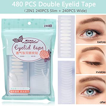 Eye Tape - 480 PCS Double Eyelid Tape Beauty Natural Invisible Fiber For Hooded Droopy Uneven