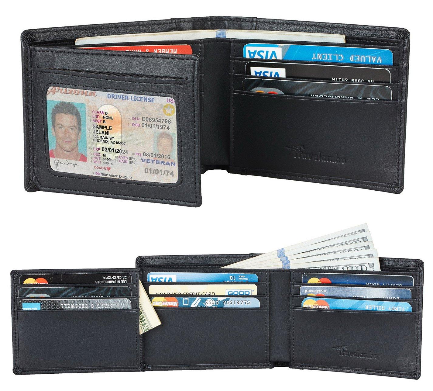 Travelambo Genuine Leather RFID Blocking Wallets Mens Wallet Bifold Left ID (napa black)