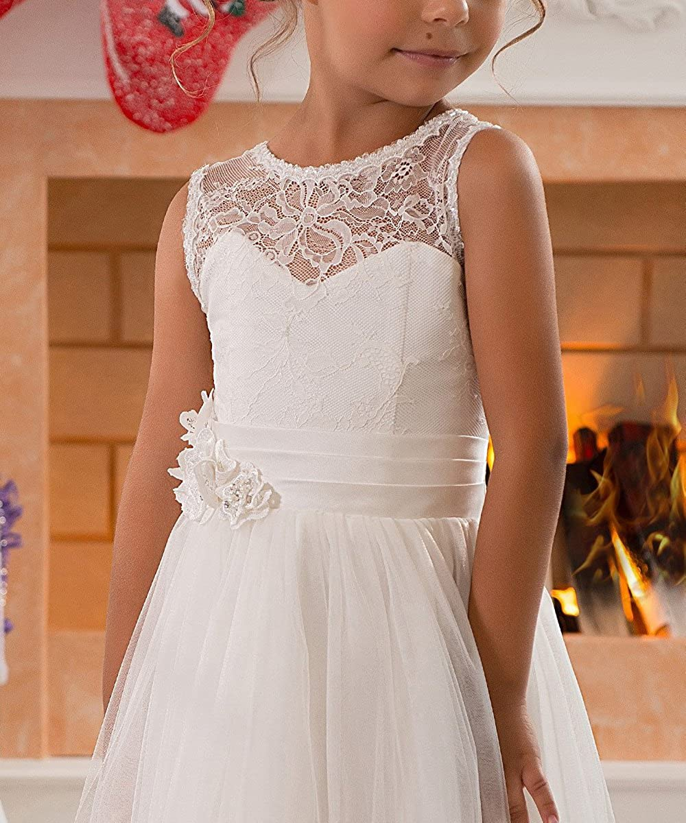 Lace Embellished A-Line Sleeveless Girls Wedding Party Dresses
