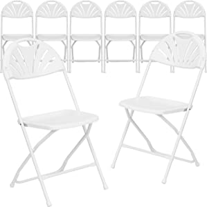 Flash Furniture 8 Pk. HERCULES Series 650 lb. Capacity White Plastic Fan Back Folding Chair