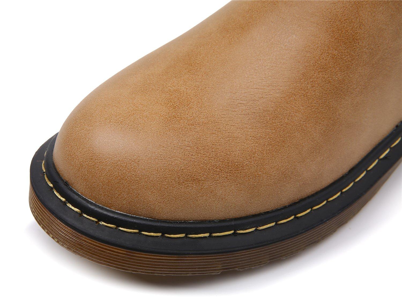 Smilun Kids¡¯s Chelsea Ankle Chelsea Boots Zip Flats Low Heel with Block Western Chunky Heel Chelsea Boots Zip for Kids Brown US6 by Smilun (Image #3)