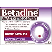 Betadine Anaesthetic Lozenges - Triple Action Sore Throat Lozenges - Numbs a Painful Sore Throat Fast, Berry, 16 Pack